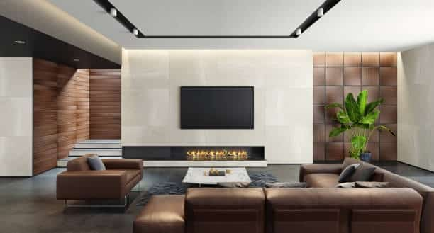 fireplace and tv on different walls